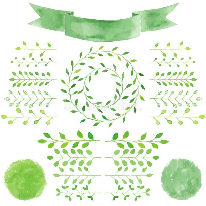 Vattenfärgen förser med märke, sidor, den gröna kransen för cirkeln, bandet, emblem stock illustrationer