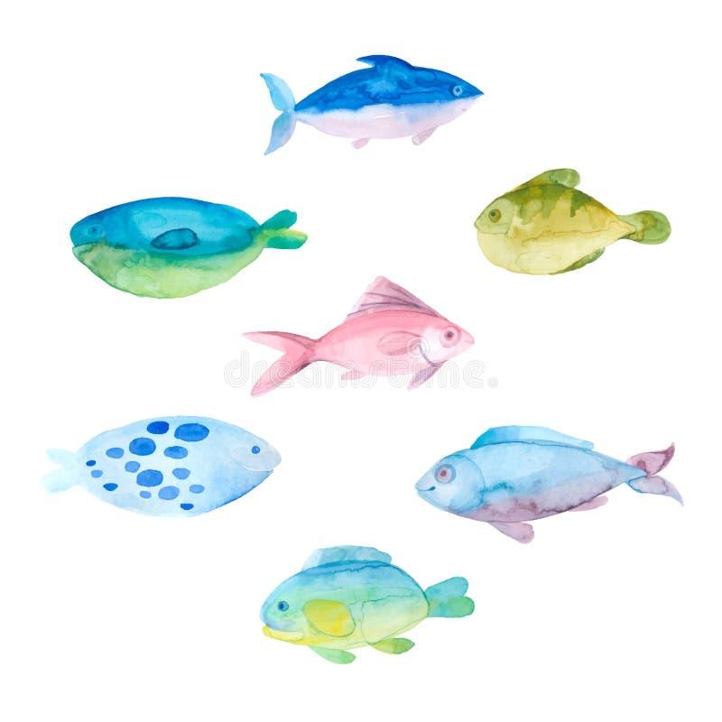 Vattenfärgen fiskar på en vit bakgrund Vektoruppsättning, tecknad film dåligt royaltyfri illustrationer