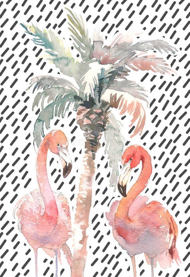 Vattenfärgen gömma i handflatan med flamingo två på abstrakt bakgrund, den hand drog illustrationen för din design För tryck unga vektor illustrationer