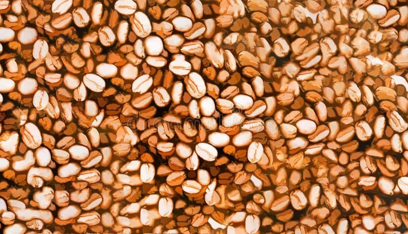 Vattenfärgen grillade kaffebönor, kan användas som en bakgrund royaltyfria bilder