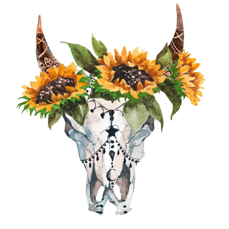 Vattenfärgen isolerade huvudet för tjur` s med blommor och fjädrar på vit bakgrund Boho stil Skalle för inpackning, tapet royaltyfri illustrationer