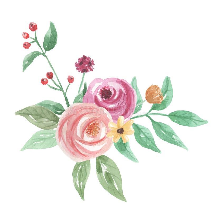 Vattenfärgen målade blom- blommabuketten för persikan lämnar bär stock illustrationer