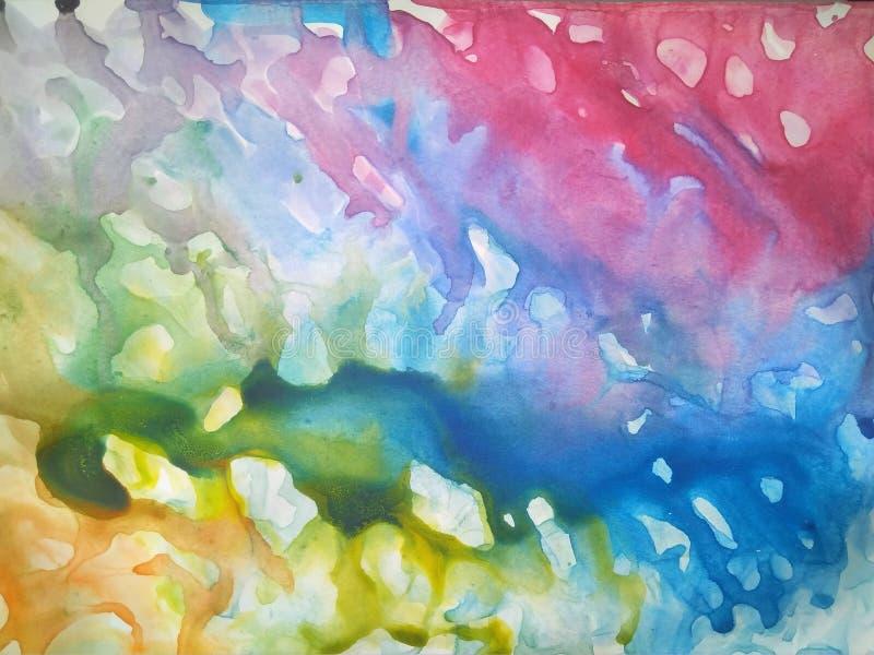 vattenfärgen plaskar kulör blått och rosa vektor illustrationer