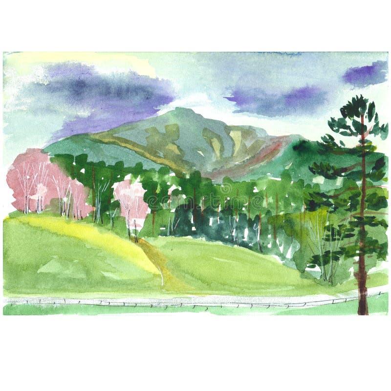 Vattenfärgen skissar av ett hus mot en bakgrund av berg stock illustrationer