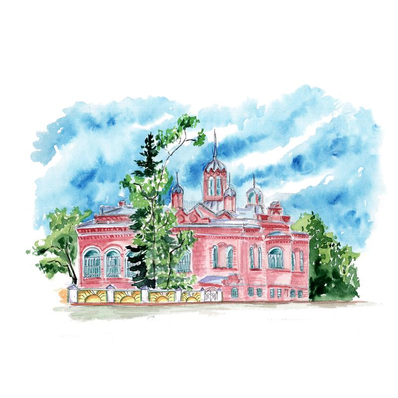 Vattenfärgen skissar av gamla prydnader för ett herrgårdtornspirakapell stock illustrationer
