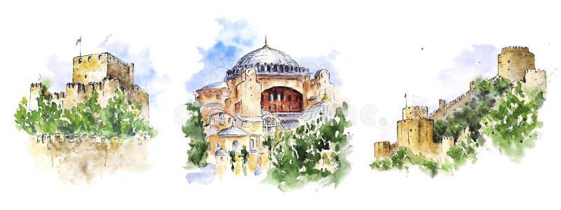Vattenfärgen skissar av Istanbul sikt: Hagia Sophia och två slottar royaltyfri illustrationer