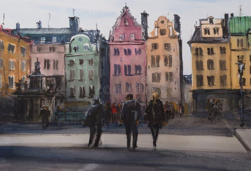 Vattenfärgen skissar av Stockholm royaltyfri bild