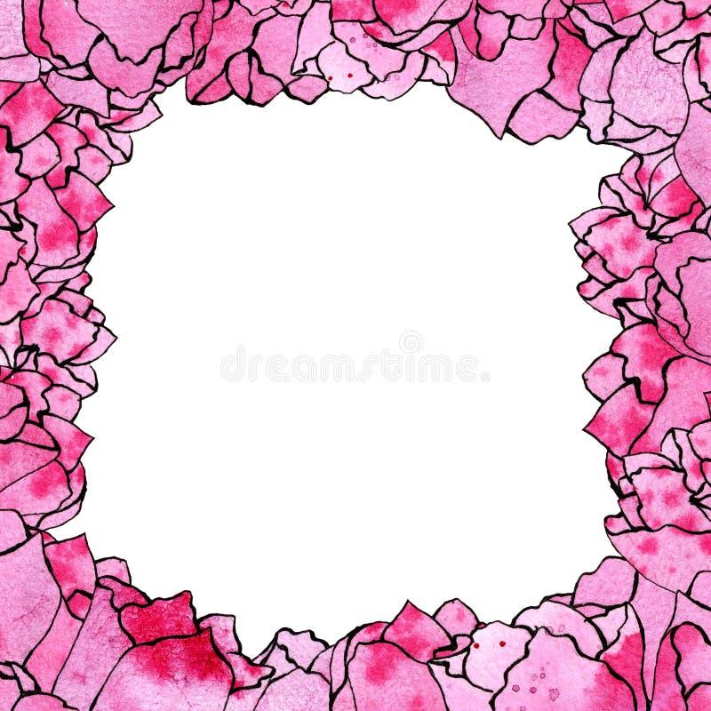 Vattenfärgen skissar illustrationen av den fyrkantiga ramen av rosa tulpan längs kanten royaltyfri illustrationer