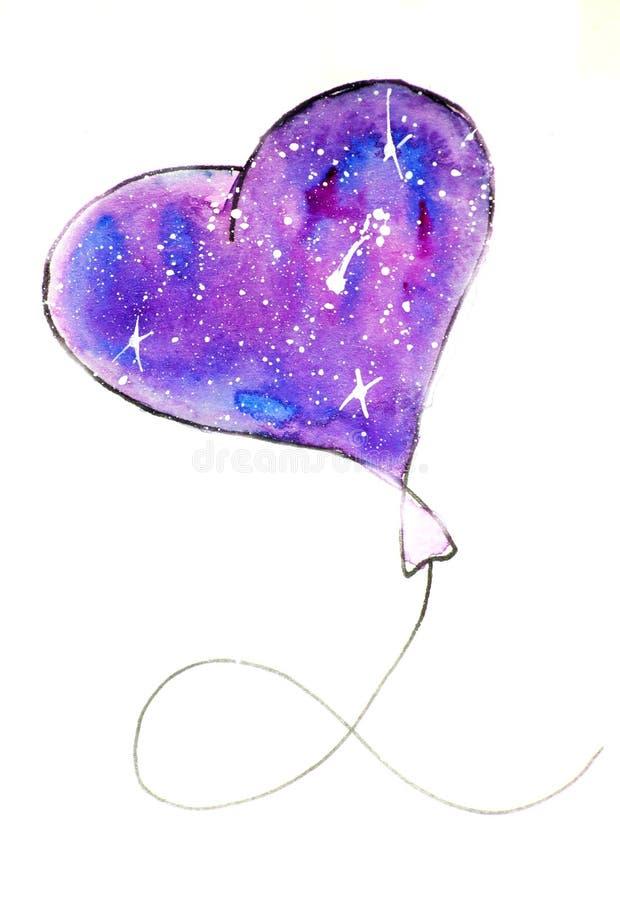 Vattenfärgen skissar illustrationen, tatueringstil: kontur av en ballong i formen av en hjärta mot en bakgrund av rosa färger vektor illustrationer