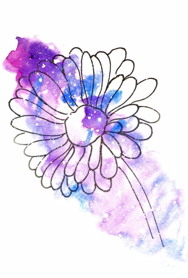 Vattenfärgen skissar illustrationen, tatueringstil: kontur av en blomma, gerbers på en bakgrund av rosa och lila kosmos-som stock illustrationer