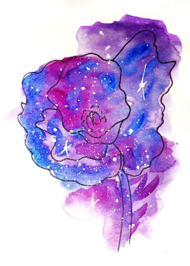 Vattenfärgen skissar illustrationen, tatueringstil: kontur av en vallmoblomma mot en bakgrund av rosa och lila kosmos vektor illustrationer