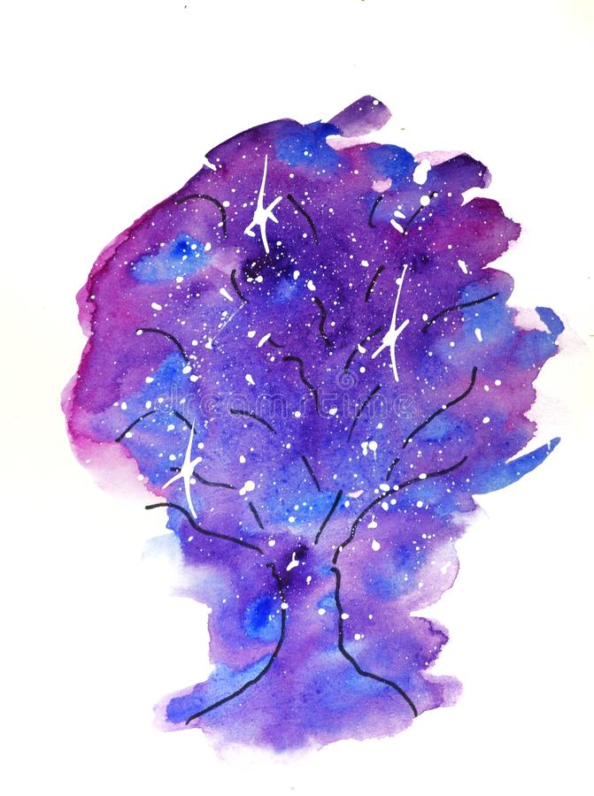 vattenf?rgen skissar illustrationen, tatueringstil: kontur av ett tr?d mot en bakgrund av rosa och lila fl?ckar, som kosmos med stock illustrationer