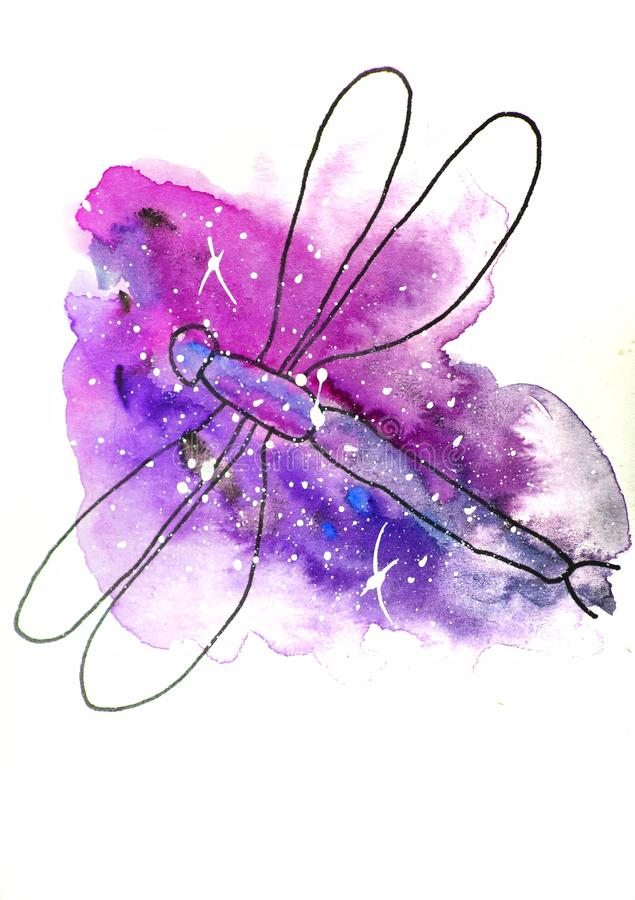 vattenf?rgen skissar illustrationen, tatueringstil: kontur av sl?ndan p? en bakgrund av rosa och lila fl?ckar, som utrymme med vi royaltyfri illustrationer