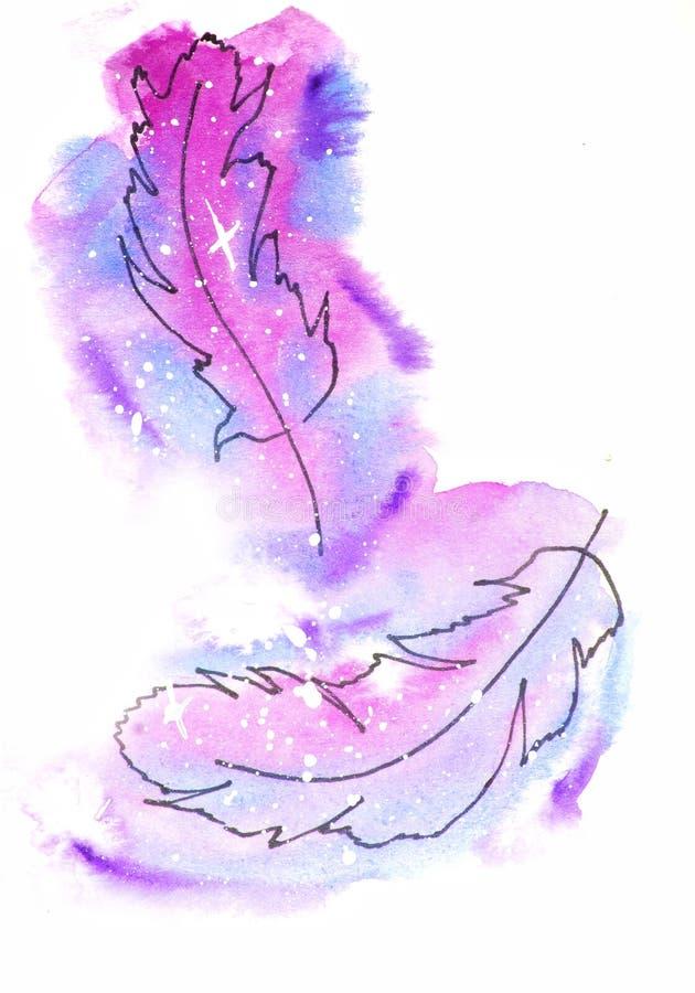 vattenf?rgen skissar illustrationen, tatueringstil: kontur av tv? fallande fj?drar p? en bakgrund av rosa och lila kosmos-som fl? stock illustrationer