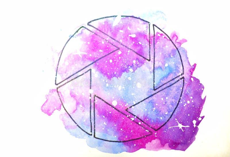 vattenf?rgen skissar illustrationen, tatueringstil: konturen av attrapperna f?r kamera s mot en bakgrund av rosa och lila kosmos royaltyfri illustrationer