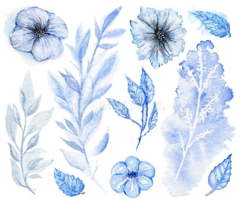 Vattenfärgen ställde in av blått blommor och ris royaltyfri illustrationer