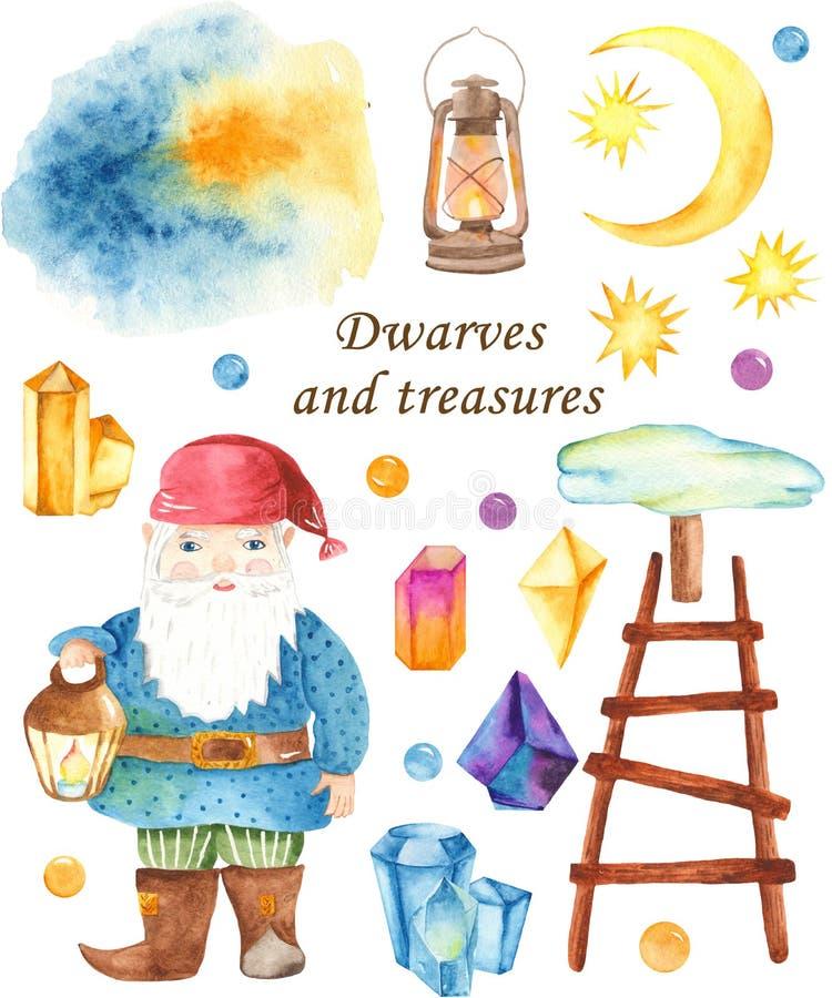 Vattenfärgen ställde in av gnomen, månen, kristaller, trappa, lykta stock illustrationer