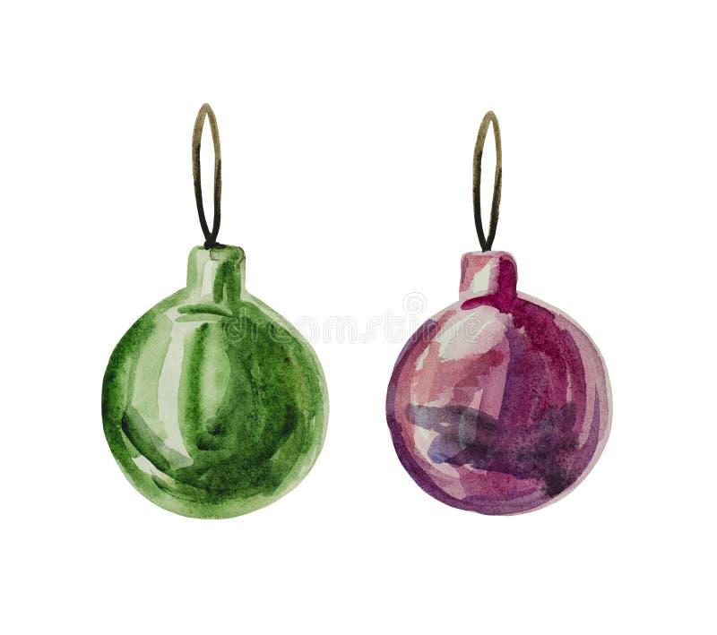 Vattenfärgen ställde in av julgrangarneringar av grön och körsbärsröd färg på julgranen stock illustrationer