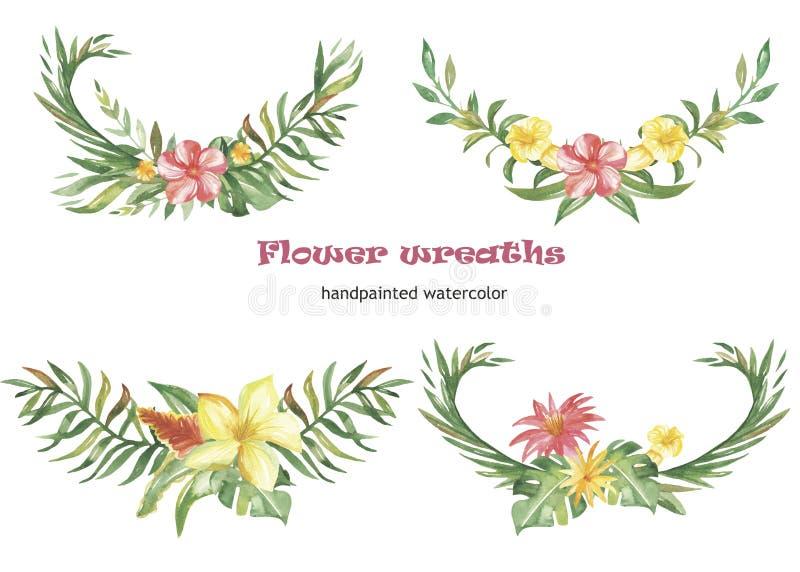 Vattenfärgen ställde in av kransar och sammansättningar med tropiska blommor och växter royaltyfri illustrationer