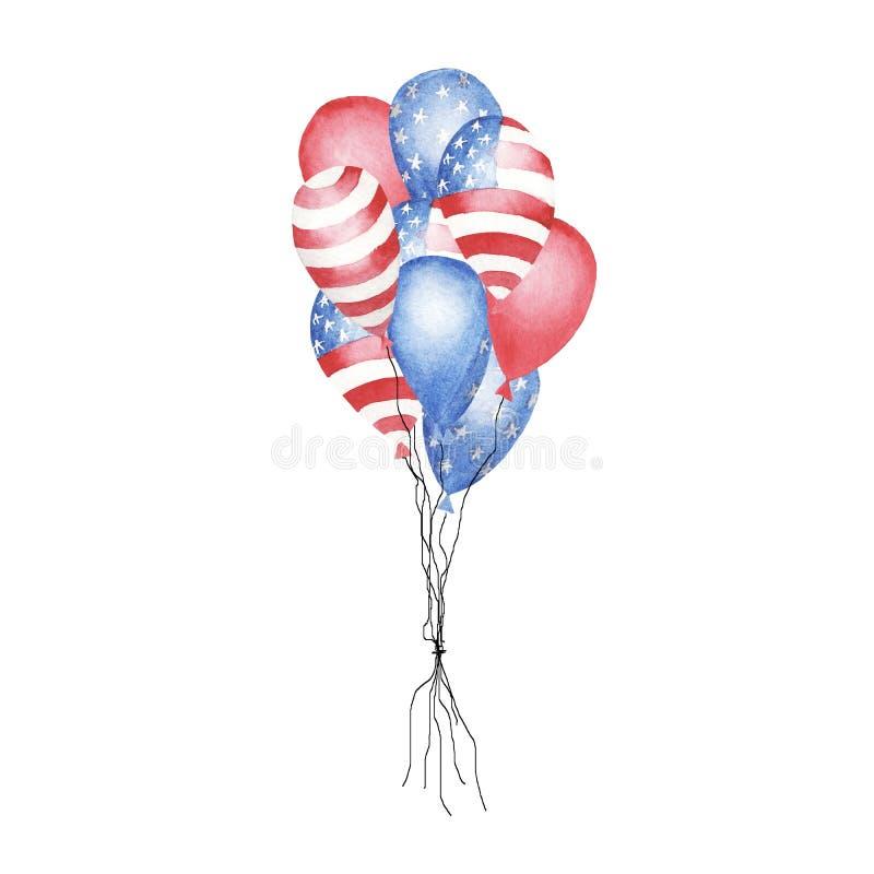 Vattenfärgen ställde in av mångfärgade ballonger isolerat arkivbilder
