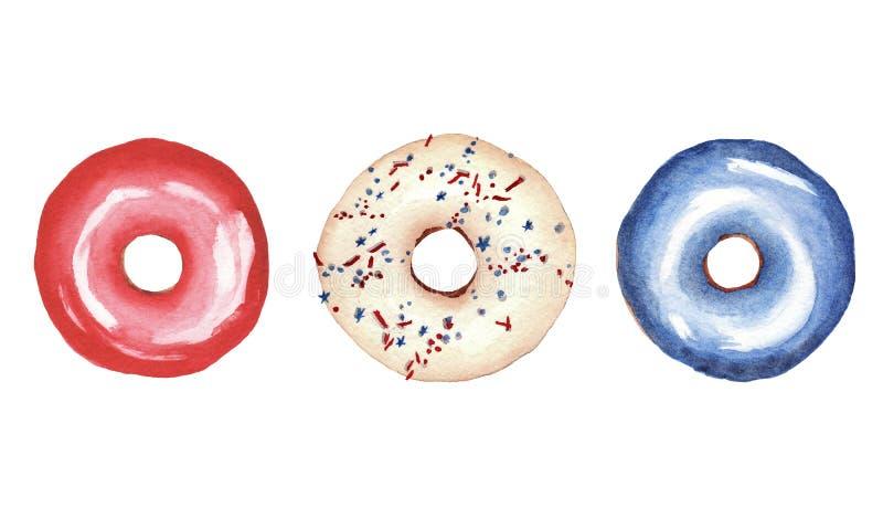 Vattenfärgen ställde in med donutsisolated på vit bakgrund färger av Unated stater av Amerika stock illustrationer
