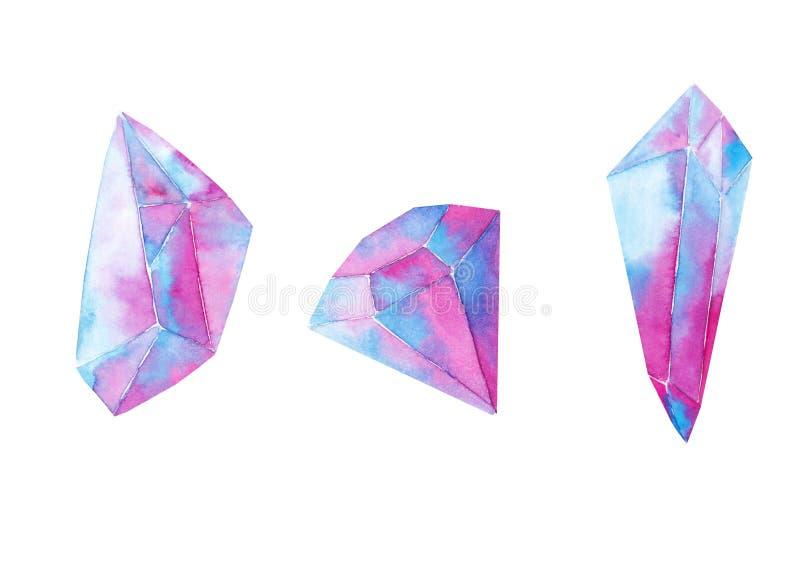 Vattenfärgen ställde in med med ljusa kristaller och ädelstenar royaltyfri illustrationer
