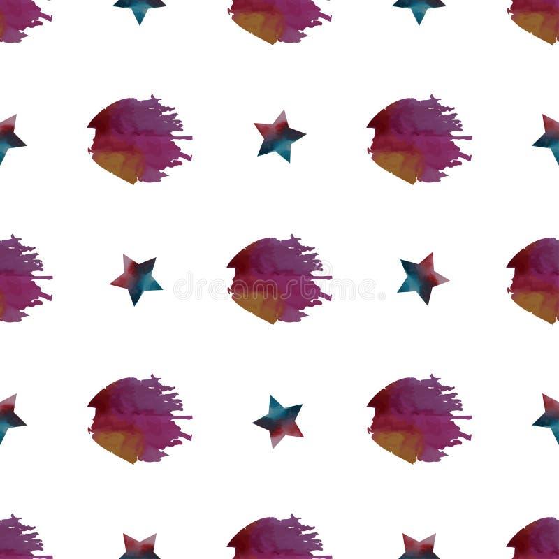 Vattenfärgen tappar den färgrika sömlösa modellen för vektorn vektor illustrationer