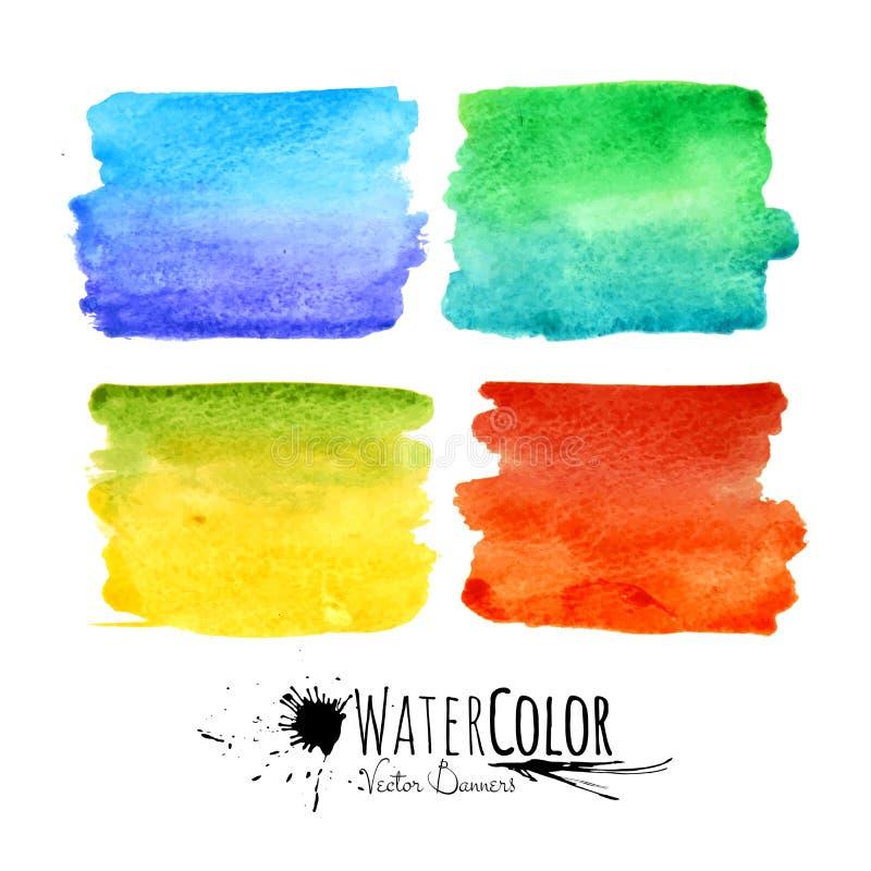 Vattenfärgen texturerad målarfärg befläcker den färgrika uppsättningen royaltyfri illustrationer