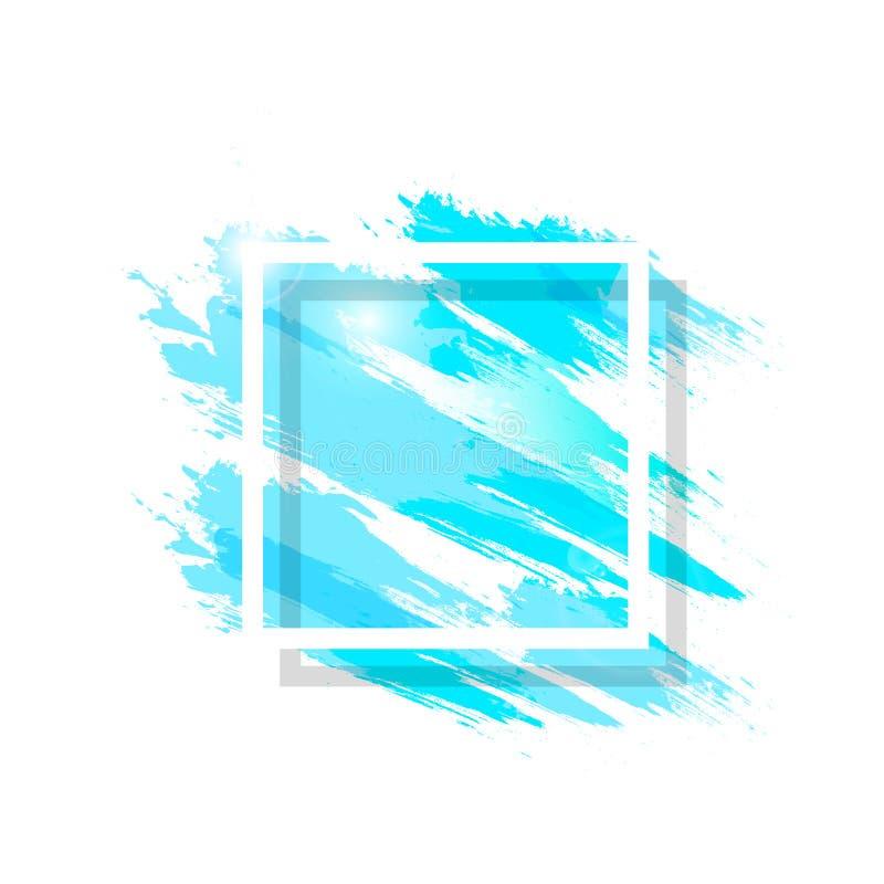 Vattenfärgen vätskefärgstänk med den fyrkantiga ramen för grungeborsten som är blå plaskar för bakgrundsvektorn för färgpulver de stock illustrationer