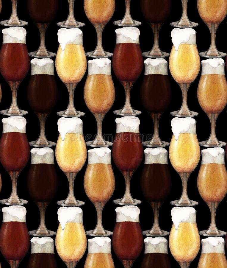 Vattenfärgexponeringsglas av öl arkivbild