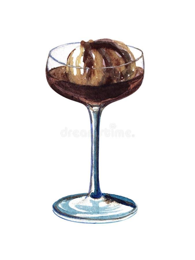 Vattenfärgexponeringsglas av kallt kaffe royaltyfri foto