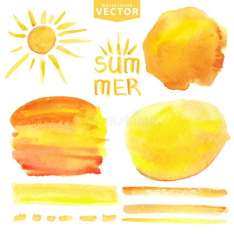 Vattenfärgfärgstänk, borstar, sol Gul sommaruppsättning royaltyfri illustrationer