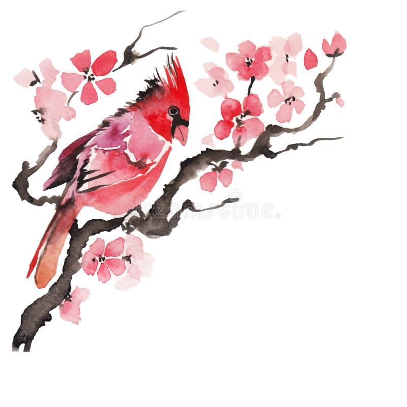 Vattenfärgfågel på en blomningfilial royaltyfri illustrationer
