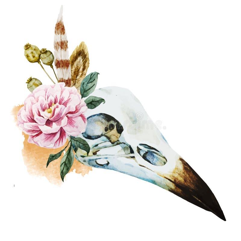 Vattenfärgfågelskalle royaltyfri illustrationer