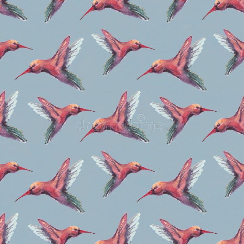 Vattenfärgfåglar seamless modell vektor illustrationer