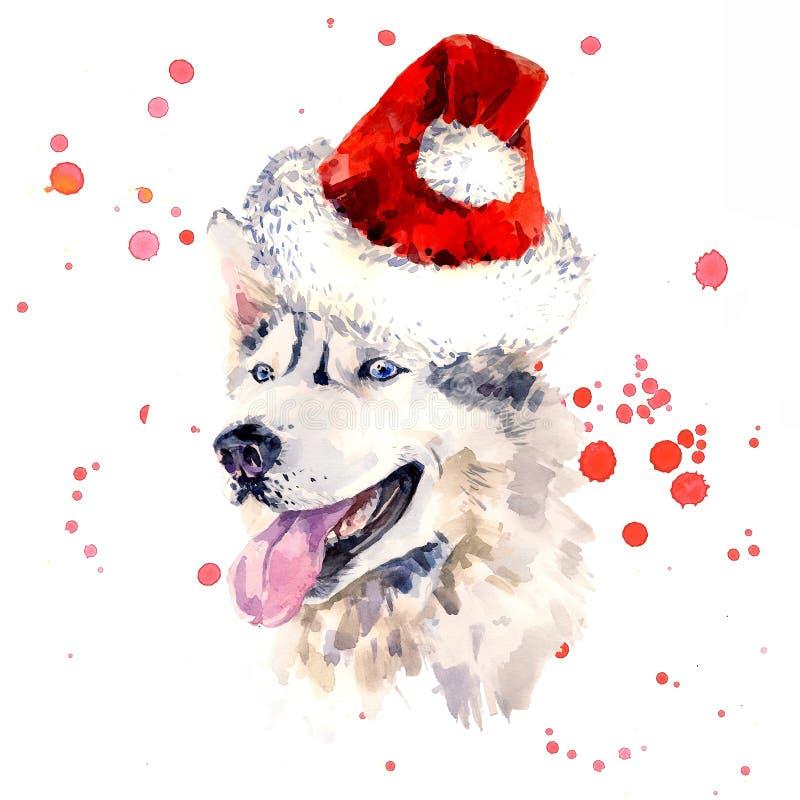 Vattenfärgfårhund i den röda Santa Claus hatten vektor illustrationer