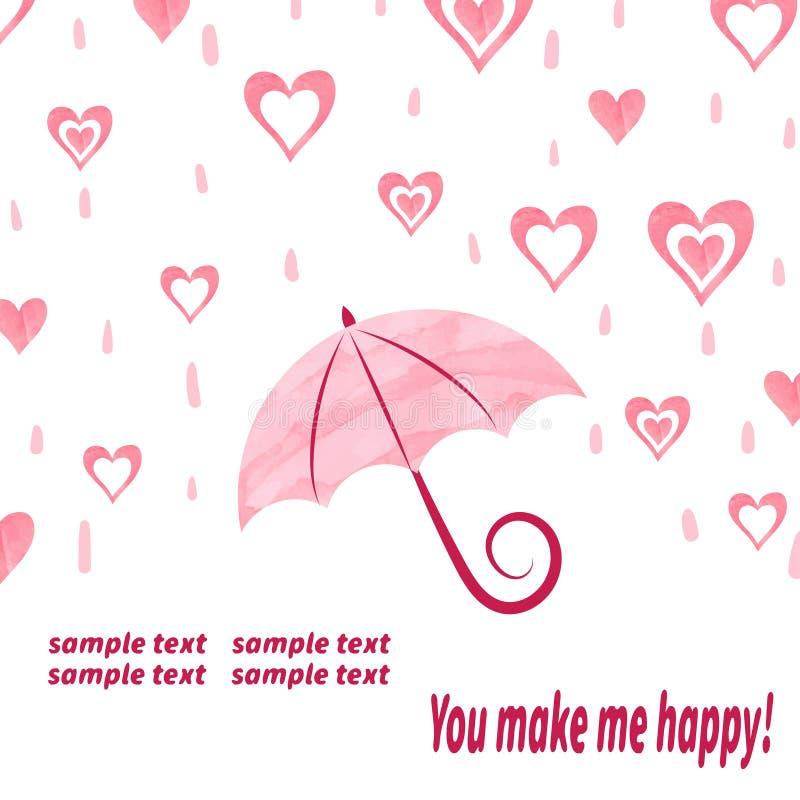 Vattenfärgförälskelsebakgrund med paraplyet och hjärtor royaltyfri illustrationer
