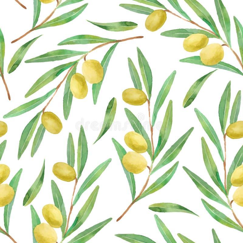 Vattenfärgfilialer av den sömlösa modellen för oliv stock illustrationer