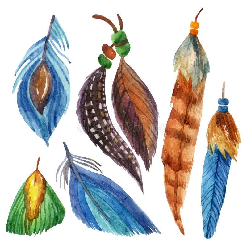 Vattenfärgfjäderuppsättning stock illustrationer