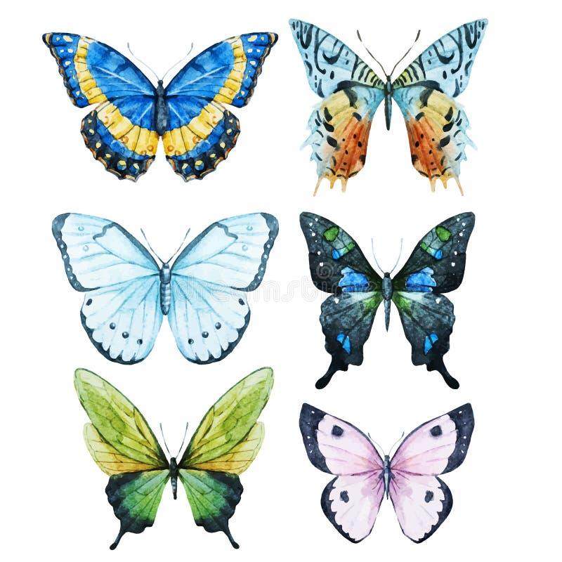Vattenfärgfjärilar stock illustrationer