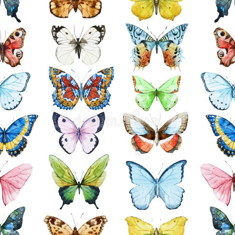 Vattenfärgfjärilsmodell royaltyfri illustrationer