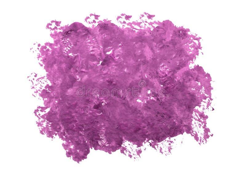 Vattenfärgfläck av en purpurfärgad färg med sönderrivna kanter på en vit bakgrund Isolerat purpurfärgat sudd av målarfärg arkivfoton