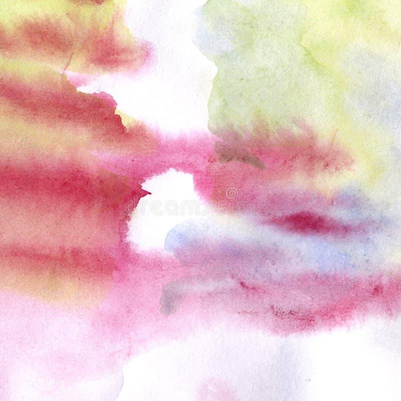 Vattenfärgfläck med droppande och fläckar, hand-dragen lutning av olika färger - som är purpurfärgade som är blåa och som är grön royaltyfri illustrationer