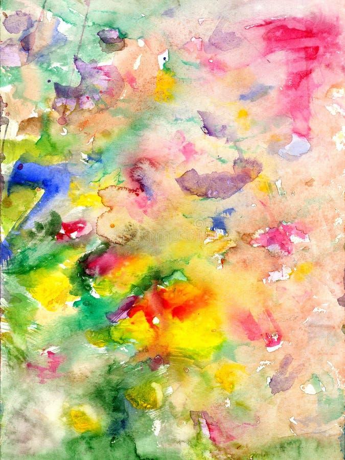 Vattenfärgfläckar och flödande målarfärger arkivbild