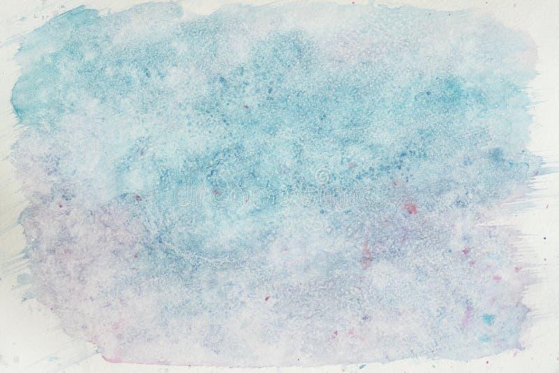 Vattenfärgfläckar, slaglängder av blåa skuggor abstrakt bakgrundsvattenfärg Delikata skuggor av den mjuka vintern, snö stock illustrationer