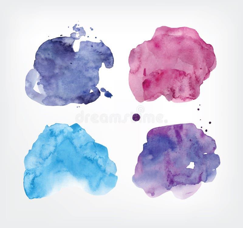 Vattenfärgfläckuppsättning Realistiska färgrika fläckar vektor illustrationer