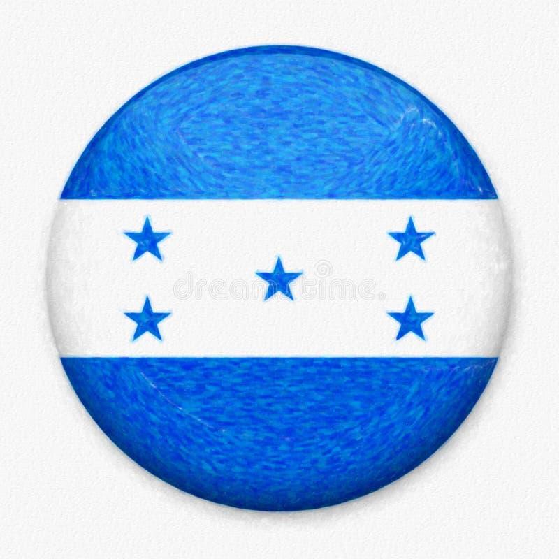 Vattenfärgflagga av Honduras i form av en rund knapp stock illustrationer