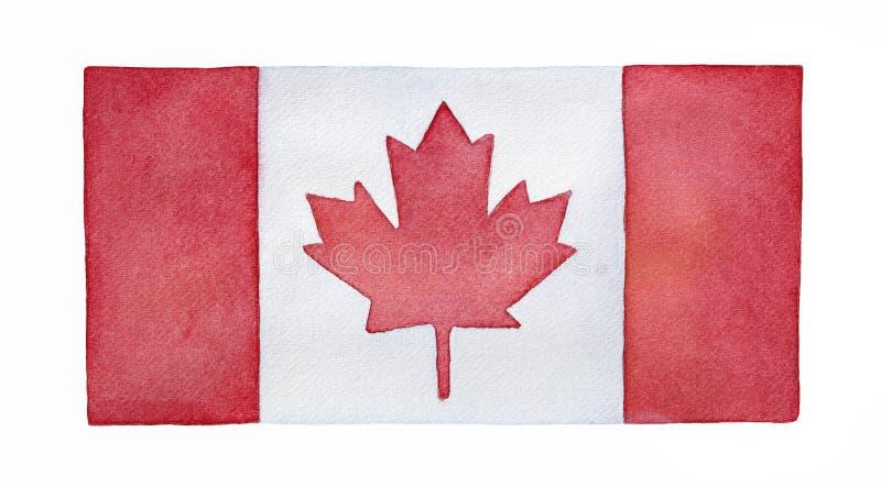 Vattenfärgflagga av Kanada stock illustrationer