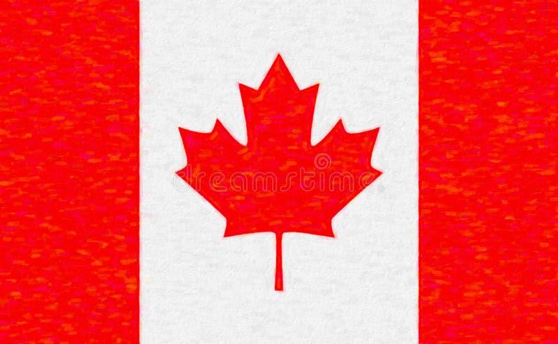 Vattenfärgflagga av Kanada, pappers- textur stock illustrationer