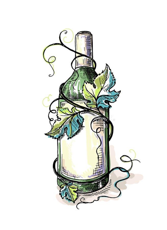 Vattenfärgflaska av vin i druvasidor vektor illustrationer